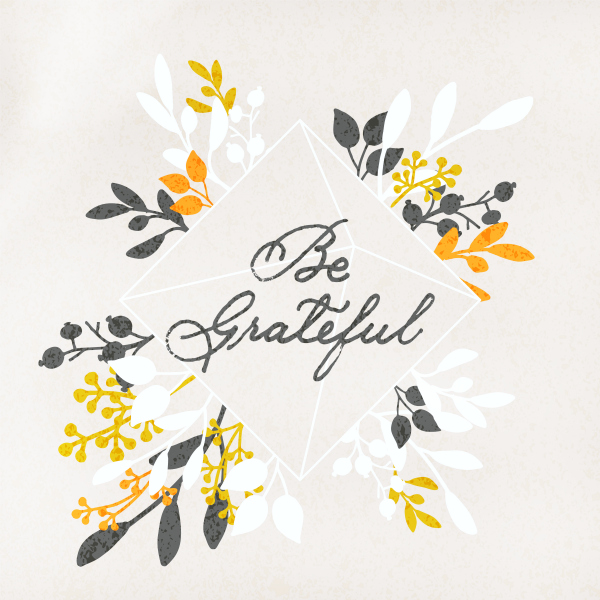 Be Grateful whimsical floral script digital art, so pretty! Love this 30 day gratitude challenge, too! So much to be grateful for! #grateful #gratitudechallenge #begrateful