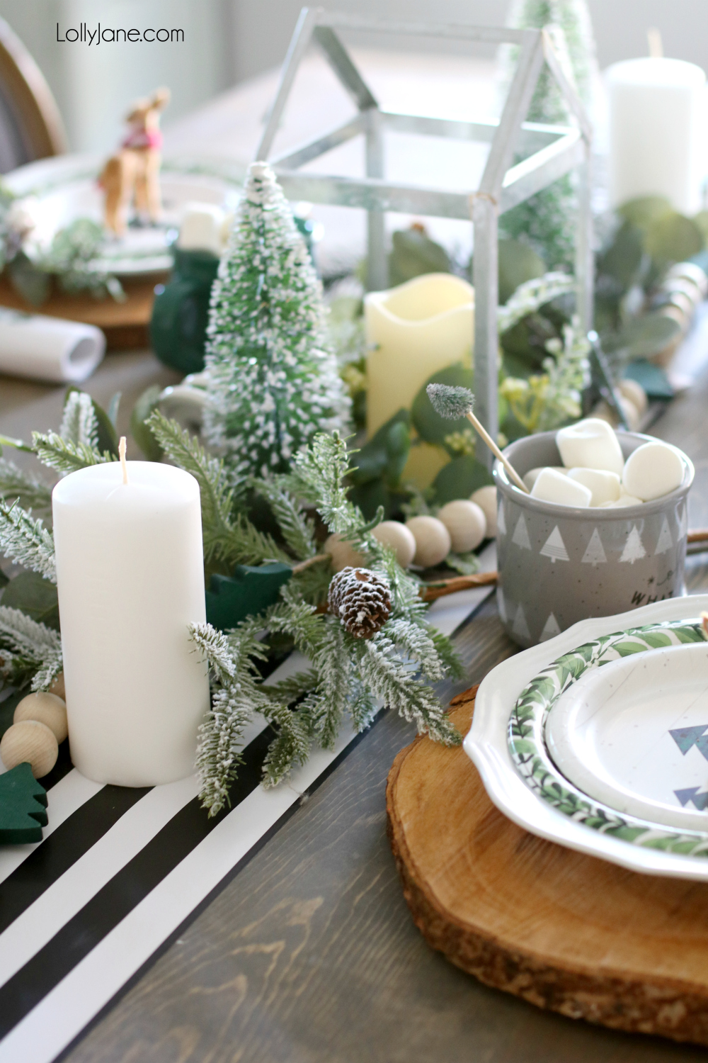 Grab a little of this and a little of that to pull together an amazingly EASY Christmas tablescape! Great for winter, too! (Includes a little DIY that doubles as decor + guest gift!) #christmas #christmastablescape #christmascenterpiece #centerpiece #wintertablescape #diy