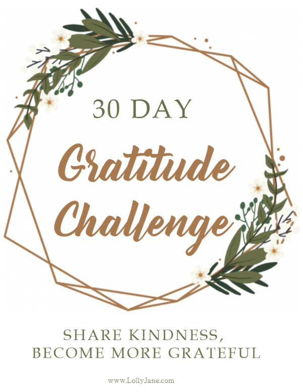 Love this 30 day gratitude challenge to share kindness and develop an attitude of gratitude! #begrateful #gratitudechallenge #30daychallenge