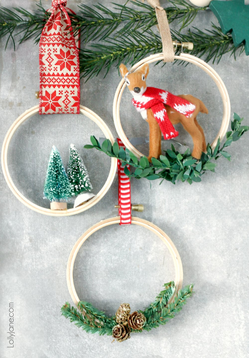 Make these cute + easy DIY Christmas Hoop Ornaments in NO TIME at all! So fun for the kids to help! #diy #diyornaments #christmasornaments #christmasdecorations