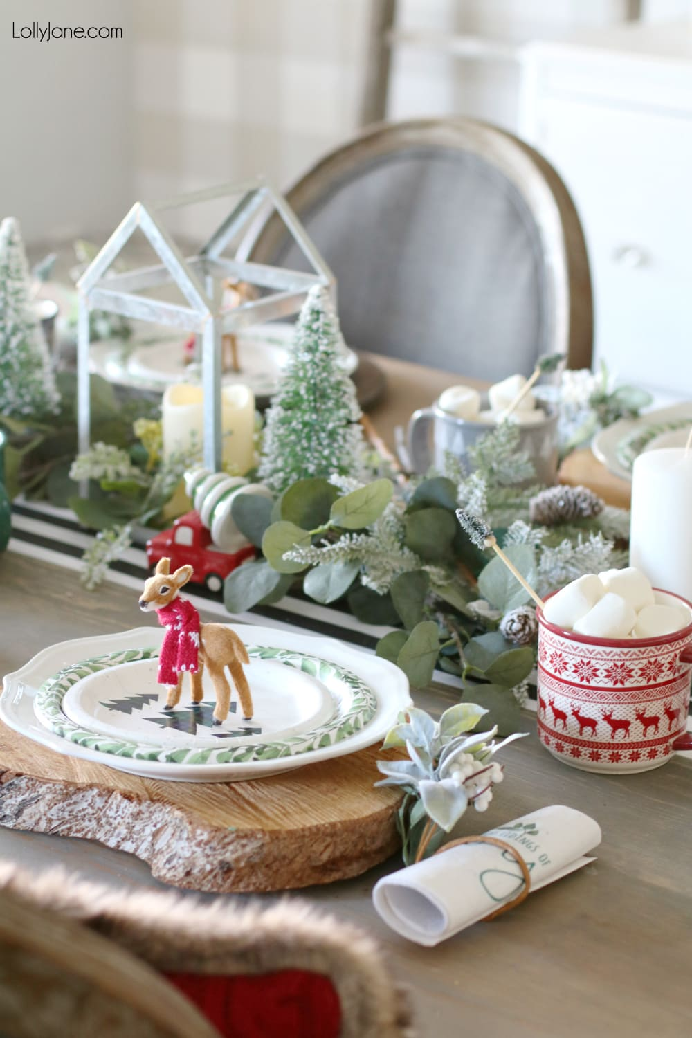Cute and easy tablescape ideas for Christmas or wintertime! Shop your house and buy things (like these once-deer-ornaments turned plate topper!) that can be multi-purpose! Great tips! #christmas #christmastablescape #christmascenterpiece #centerpiece #wintertablescape #diy