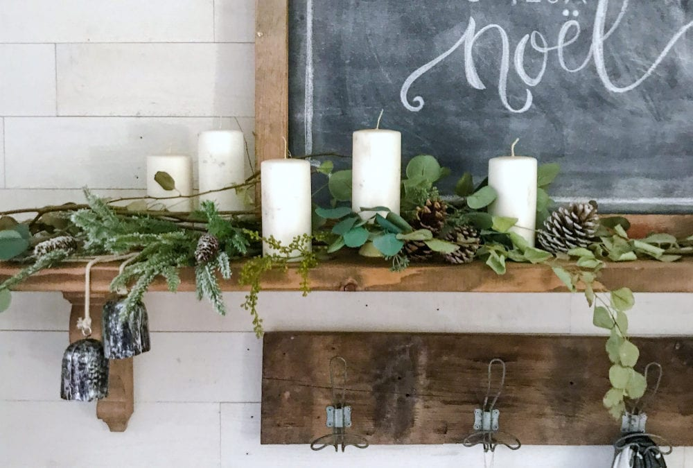 Simple Eucalyptus Styled Mantel