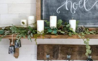 Simple Eucalyptus Styled Mantel