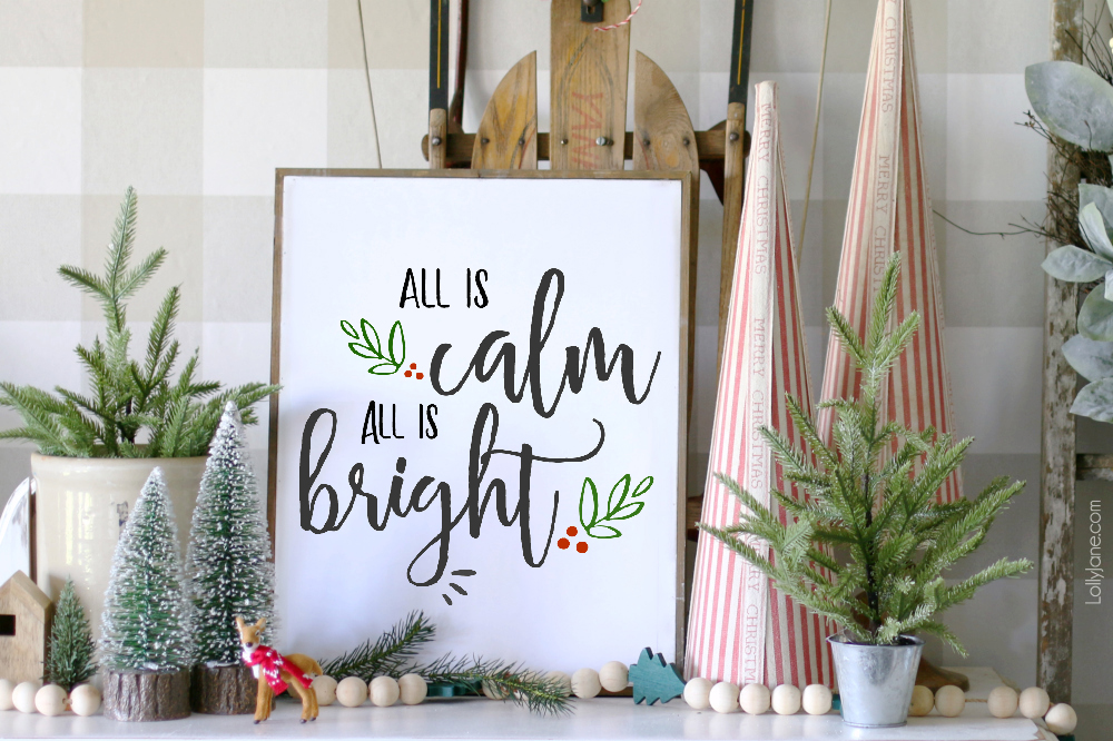"Beautiful ""Calm & Bright"" FREE Printable Art, perfect to frame, pin, tape up OR use as a card, invitation or place card setting. Just print + enjoy your INSTANT festive cheer! #freeprintable #printableart #Christmas #Christmasdecoration"
