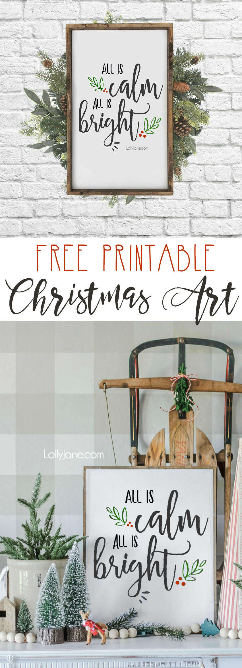 Love this pretty FREE Printable Christmas Art... use as art, a card, invitation, banner or to simply spruce up a winter/Christmas space for FREE! #freeprintable #christmasdecoration #printables #printableart #christmas