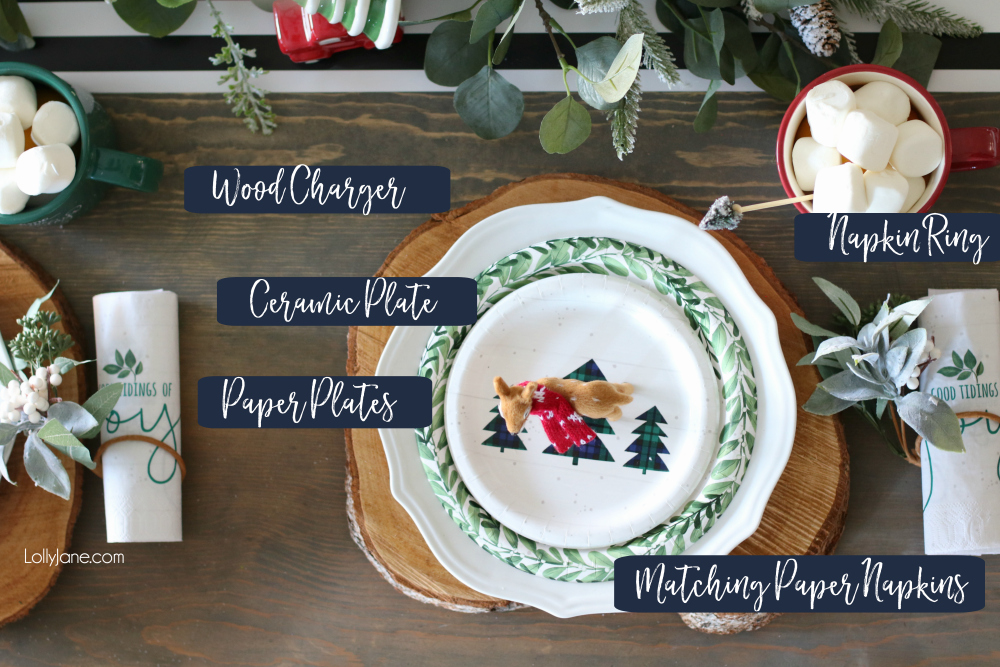 How to Create an EASY and BUDGET FRIENDLY Christmas or winter tablescape! Plus a cute DIY that doubles as a gift for guests! #christmas #christmastablescape #christmascenterpiece #centerpiece #wintertablescape #diy