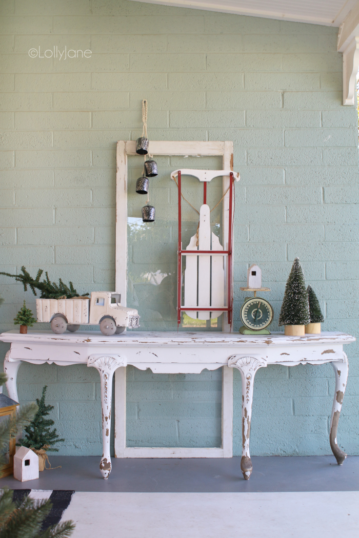 Festive and frugal Christmas porch decor. Such fun ideas for adding easy touches of Christmas to welcome your family and friends to your home. Easy porch decorating ideas for Christmas. #christmasporchdecor #christmasdecorations #christmasporchdecorations #outdoorchristmasideas