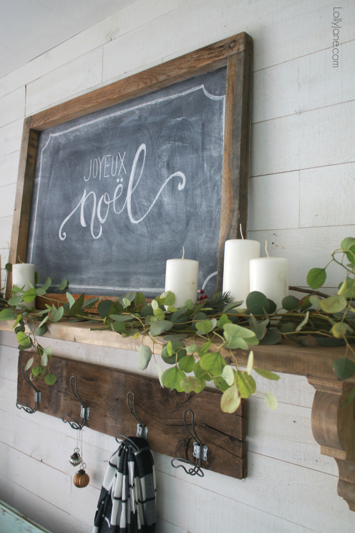 Feel festive without all the frills-- simple wintery Christmas mantel + chalk art. Click through to see how this was put together! #diy #christmasdecorations #winterdecor