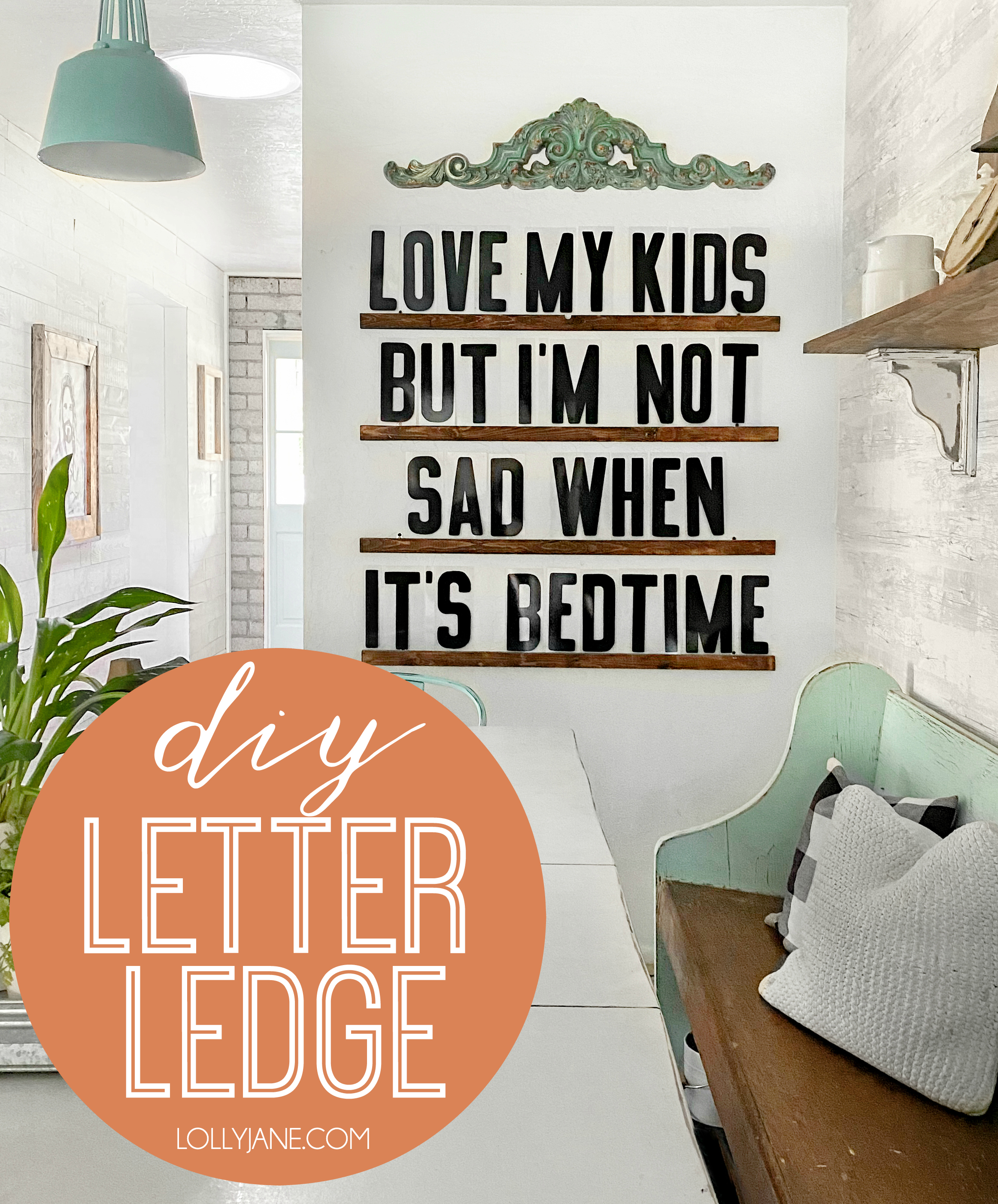 Make this super EASY DIY Letter Ledge to swap funny quotes, birthday wishes, holiday sayings, and more! Simple how-to for ANY skill level of making! #diy #letterboard #diyletterboard #letterledge