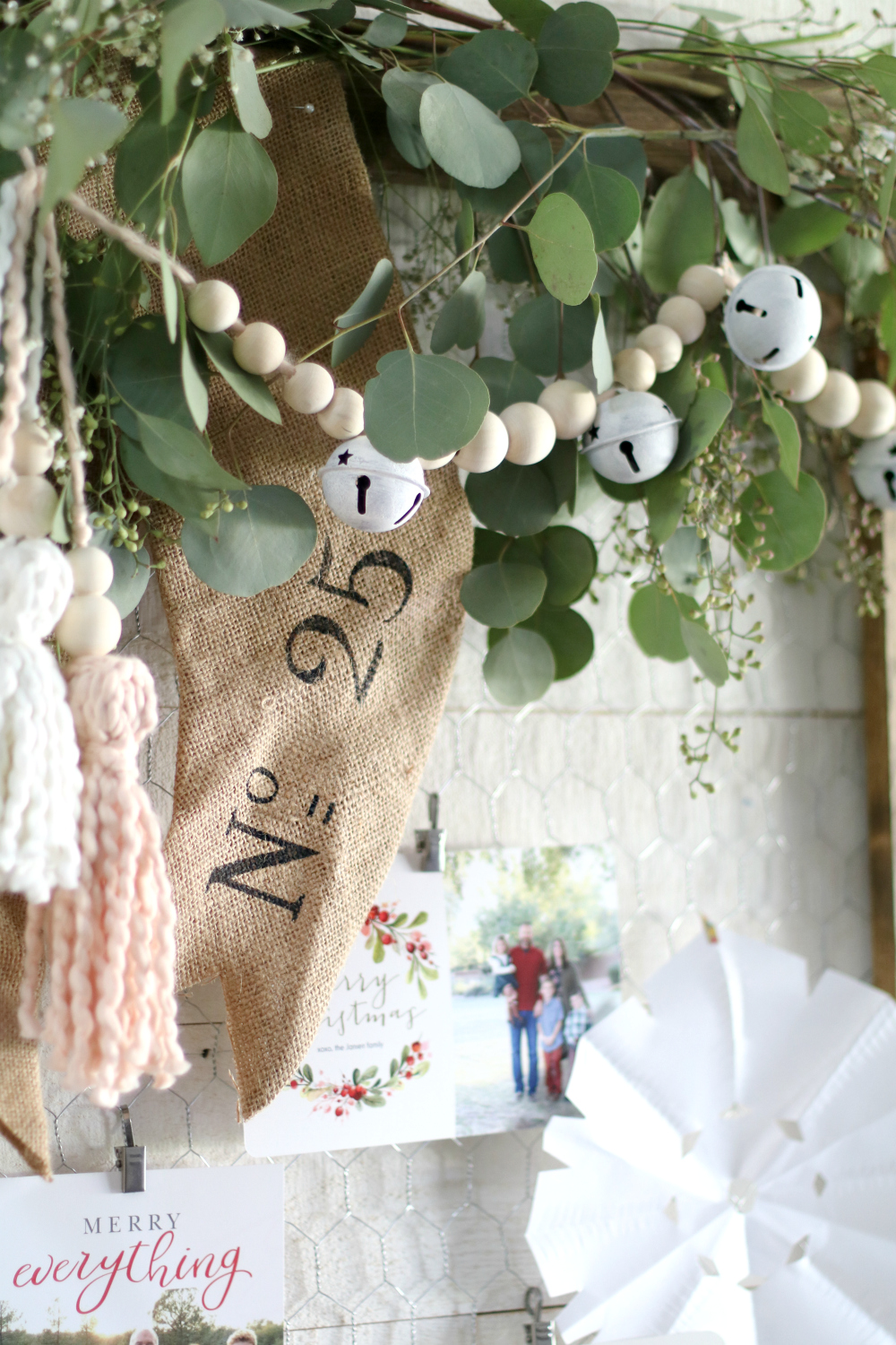 Make these easy DIY Tassels with wood beads, so cute and easy! Tie to ends of garland, on top of a stocking, or onto gift wrap-- cute and easy! #diy #tassels #tassle #christmasdecor #garland