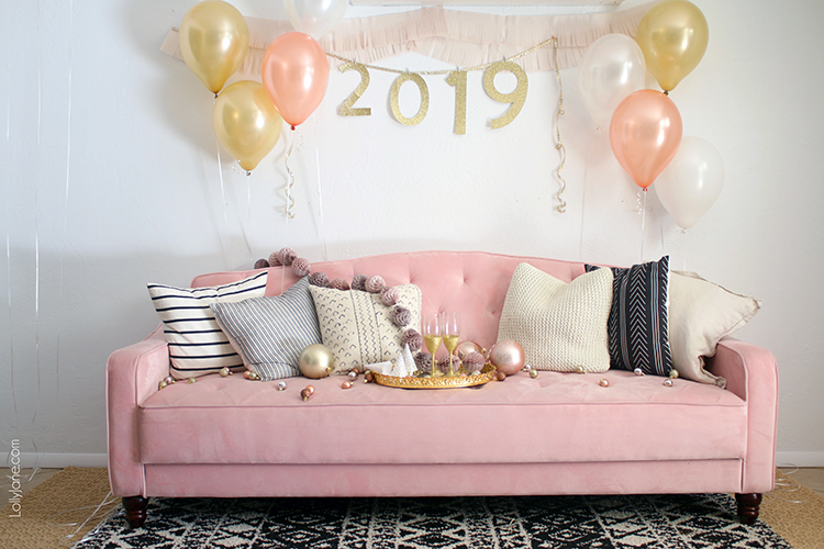 "Cutest ever NYE Party Backdrop and SO easy to recreate! Love the DIY ""2019"" garland that's great to remake and hang for ANY occasion! #nye #newyearseve #partydecor #backdrop #diy"