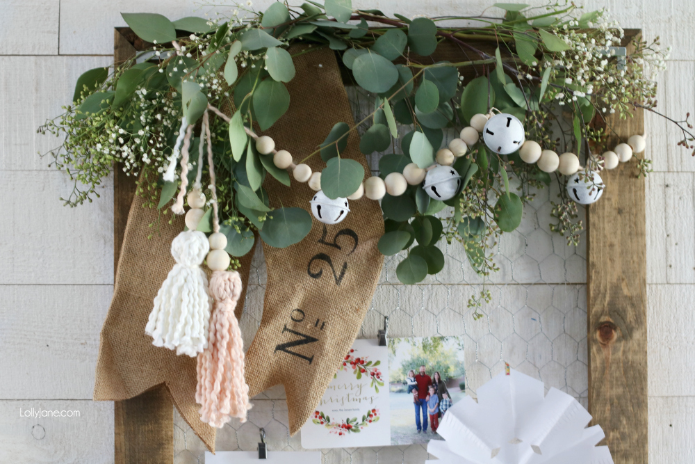 Easy beaded wood garland with bells mixed in... such easy DIY decor for winter! #diy #beadedgarland #christmas #christmasdecor