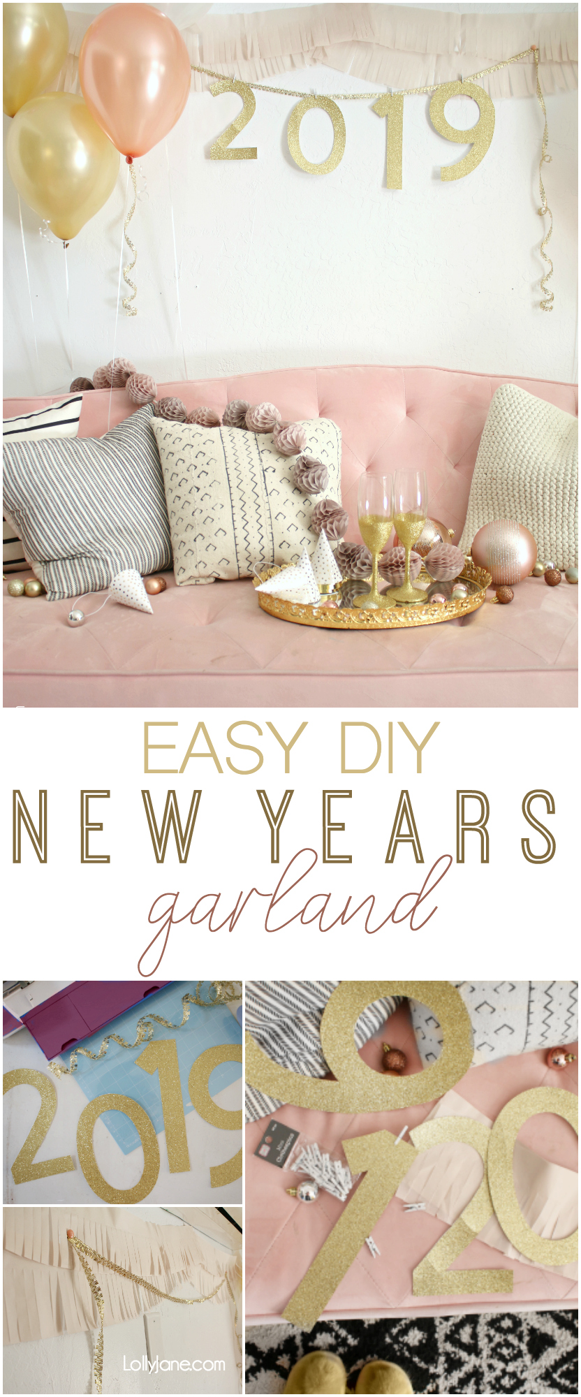 Simple + Pretty New Years Eve EASY Backdrop Ideas... love this SIMPLE DIY New Years Garland! Throw a party in style that's not complicated or time consuming! #nye #nyeparty #partybackdrop #rosegold