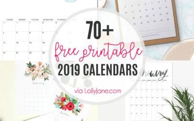 2019 free printable calendars
