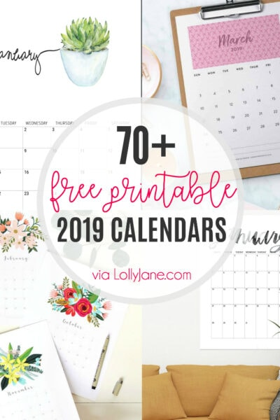 Over 70 FREE Printable 2019 Calendars... from planners to wall or desk calendars, click for the biggest round up of 2019 FREE Calendars ever! #2019 #2019calendar #freeprintable