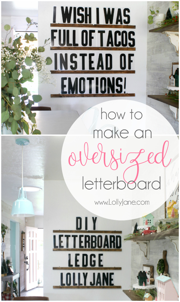 How to make a DIY Oversized Letter Board. Love these instructions on how to make one for your own home! This is a fun way to make a statement for a wall on a budget. It is easy to customize with quotes or funny sayings. #letterboard #letterboardleddge #letterboarddiy #oversizedletterboard