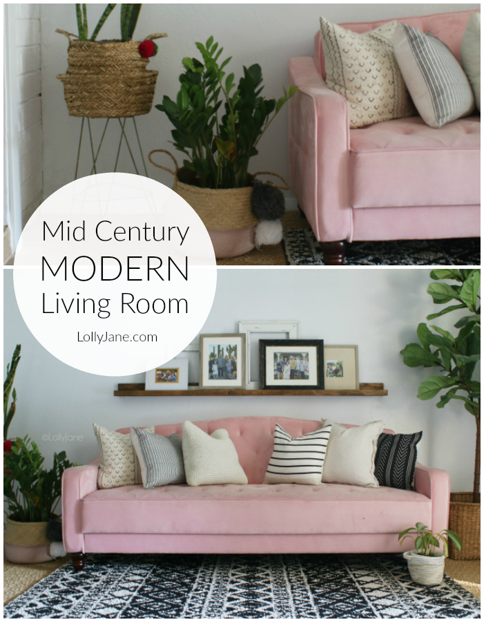 WOW! Such a fun mid century modern living room with fun home decor accessories! Wait'll you see the BEFORE of this mid century living room makeover! #roommakeover #livingroom #midcenturydecor