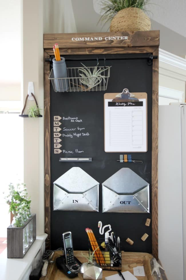 Chalkboard command station: how cute! Chalkboard paint a cabinet, add a clipboard and metal envelopes to create an industrial command station. #commandcenter #messagecenter #commandstation #industrialdecor #farmhouse