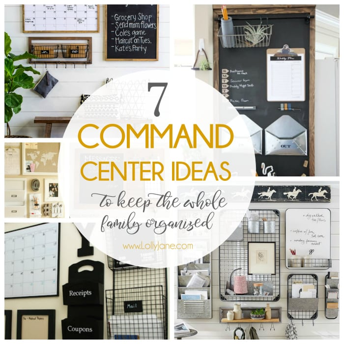 7 easy to copy command center ideas to keep the whole family organized. Love all these easy to implement command station ideas! #diy #commandcenter #commandstation #organization