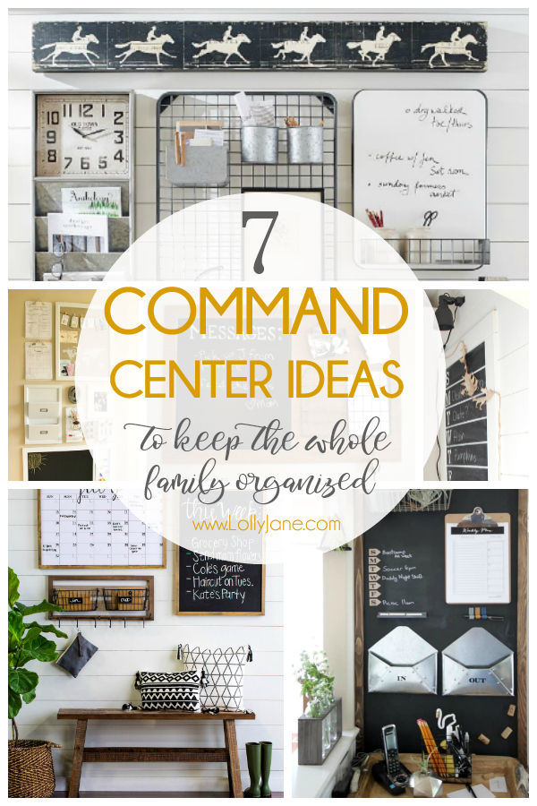 7 easy to copy command station ideas to keep the whole family organized. Love all these easy to implement command station ideas! #diy #commandcenter #commandstation #organization