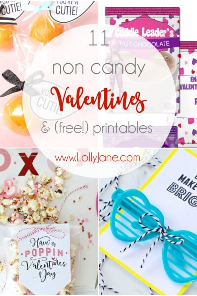 Had enough candy this holiday season? You'll be interested in these non candy Valentine ideas that include free printables!