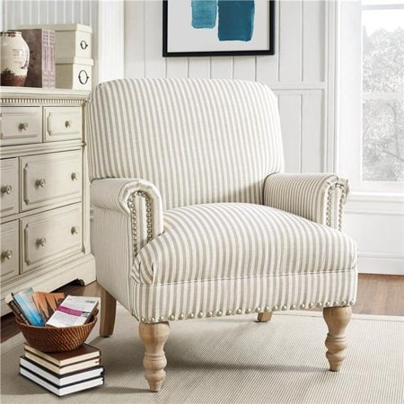 Darling striped farmhouse accent chair! Love this affordable farmhouse armchair option, so cute! #walmartfinds #stealofadeal #farmhouse #farmhousestyle #farmhousechairideas #farmhousedecor #homedecor