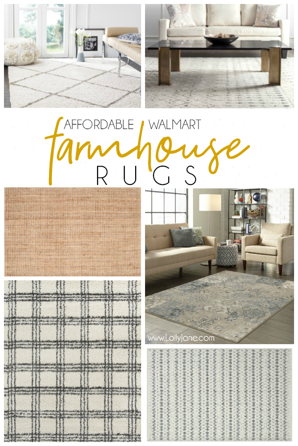 Don't forget about Walmart when looking for a farmhouse rug. They carry the same brands as your designer stores at a major discount. Love these affordable farmhouse rugs! #affordabledecor #rug #farmhouserug #farmhousestyle #rugideas