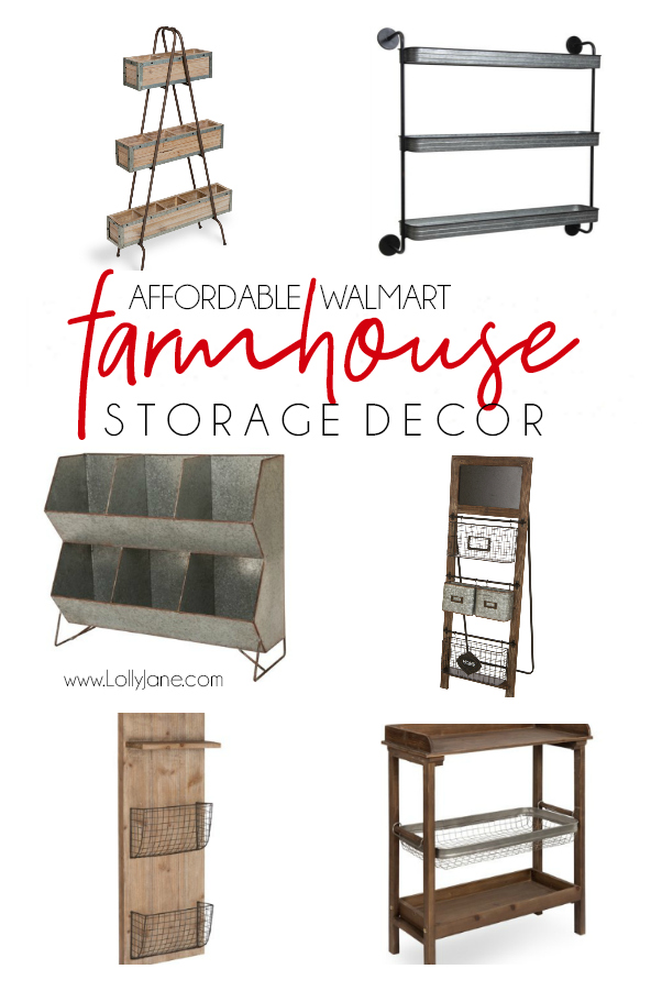 Loving these farmhouse storage decor ideas: can you believe they're from Walmart!? Great resource for affordable farmhouse accent pieces, especially inexpensive farmhouse storage solutions. #farmhouse #farmhousestyle #galvanizeddecor #homedecor #storagesolutions