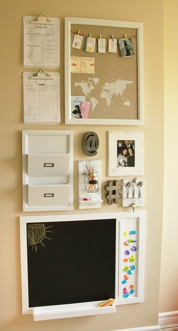 Love this white command station idea. It's simple, cute and functional. Grab these ideas to get your own family organized! #diy #commandstation #commandcenter #whitedecor #organization