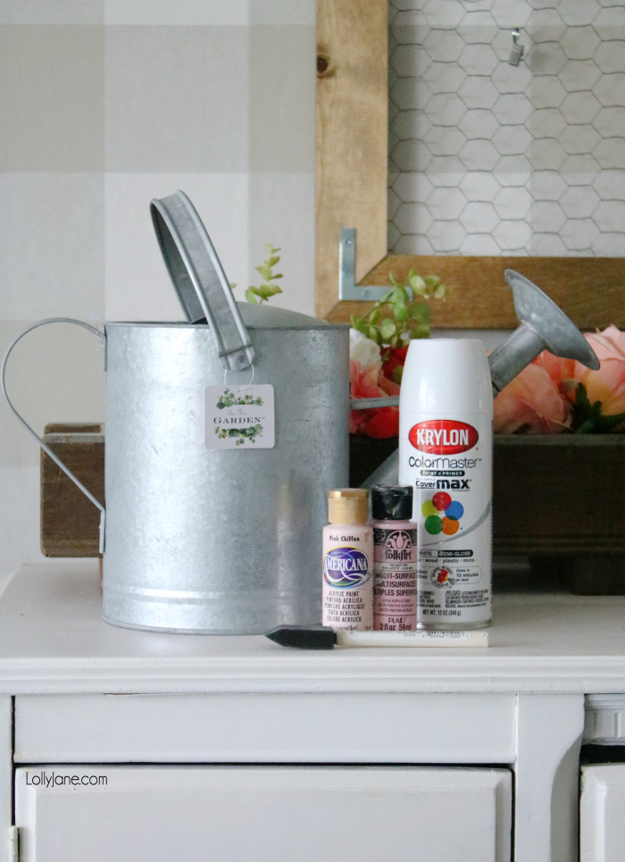 BEFORE PIC! Love the after, click through to see how to easily transform this watering can to make spring come alive! #homedecor #topspringideas #freshspringideas #springhomedecor