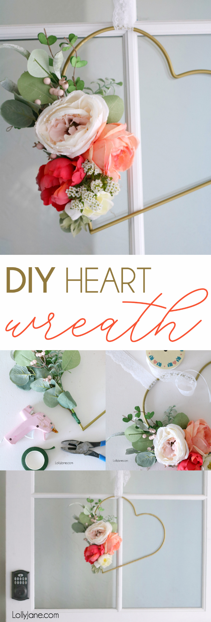 Pretty and EASY Metal Heart Floral Wreath. Hang at a baby shower, girls room, to spruce up a feminine space or to decorate for Valentine's Day! #diy #valentinesday #heartwreath