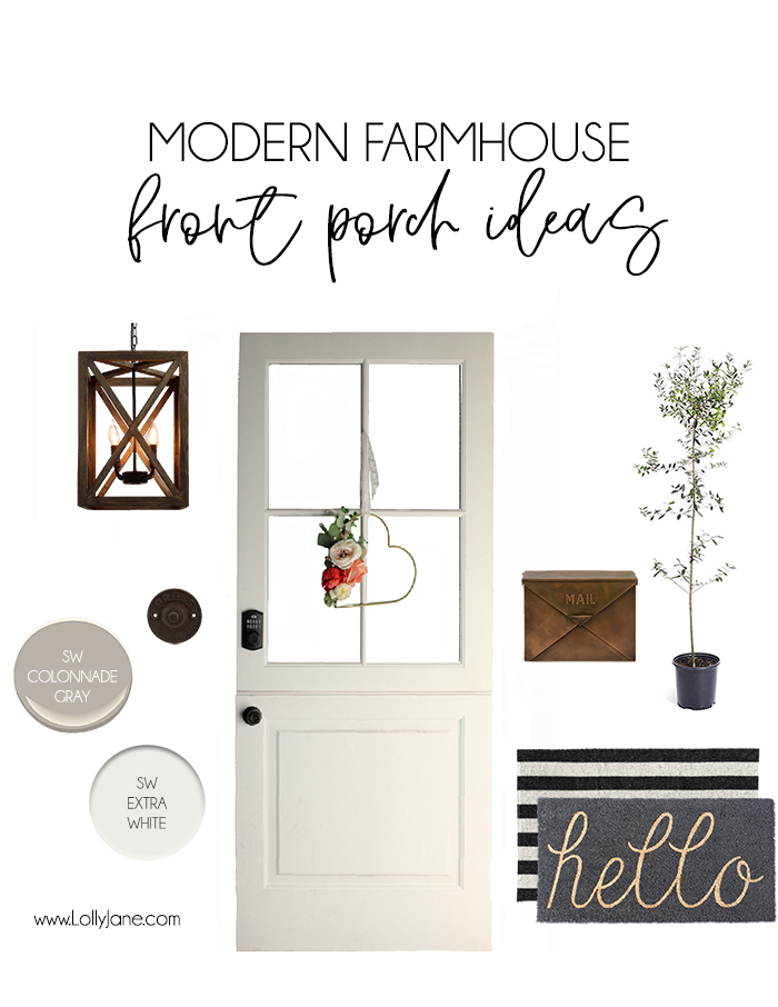 Pretty Modern Farmhouse Front Porch Ideas. Such a pretty mood board + sources tagged! #modernfarmhouse #frontporch #farmhouse