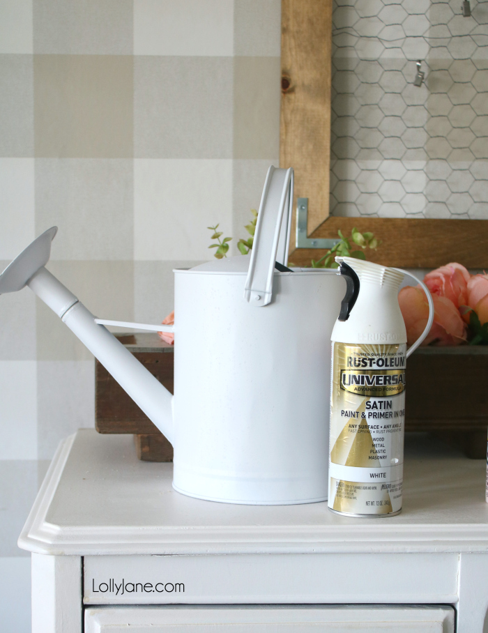 Sneak peek! Check out the full makeover of this painted watering can, in just minutes (and with a little paint) it was transformed to a pretty and EASY spring decor! #homedecor #topspringideas #freshspringideas #springhomedecor