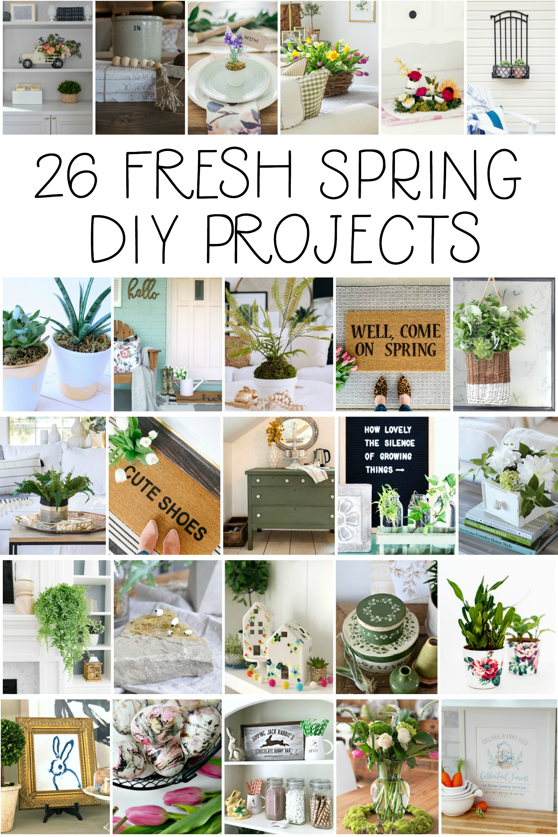 SO CUTE! Check out these 26 new spring diy project ideas! From easy to make front porch mats to indoor spring decor, we've got you covered with lots of spring decor ideas! #homedecor #topspringideas #freshspringideas #springhomedecor
