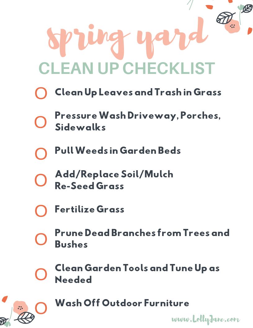 Free spring yard clean up checklist! Tackle spring maintenance early to get your yard ready for warm days and cool nights. Use this free spring yard clean up checklist to get your yard spring ready easily and quickly! #springyardcleanup #springyardchecklist #springcleaning #springyardwork