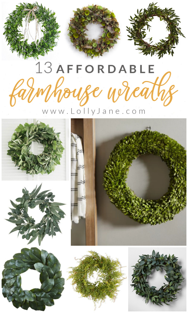 Check out these 13 farmhouse wreath ideas to add instant farmhouse charm to your home! Love these affordable farmhouse wreaths for all budgets, grab one or two to add to your front door, kitchen or dining room for easy farmhouse style. #farmhousewreath #farmhousewreaths #farmhousedecor #rusticwreath #farmstylewreath