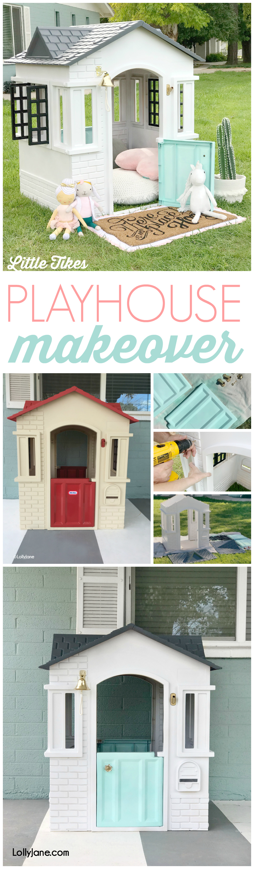 CUTEST Playhouse Makeover! And SO easy!!! Turn this yard eyesore into a little modern farmhouse in just a few steps! #diy #modernfarmhouse #playhousemakeover #littletikes