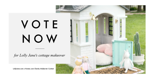 Vote for Lolly Jane's playhouse cottage makeover so their foster home charity wins! #bekind #charity #playhousemakeover #helpthekids