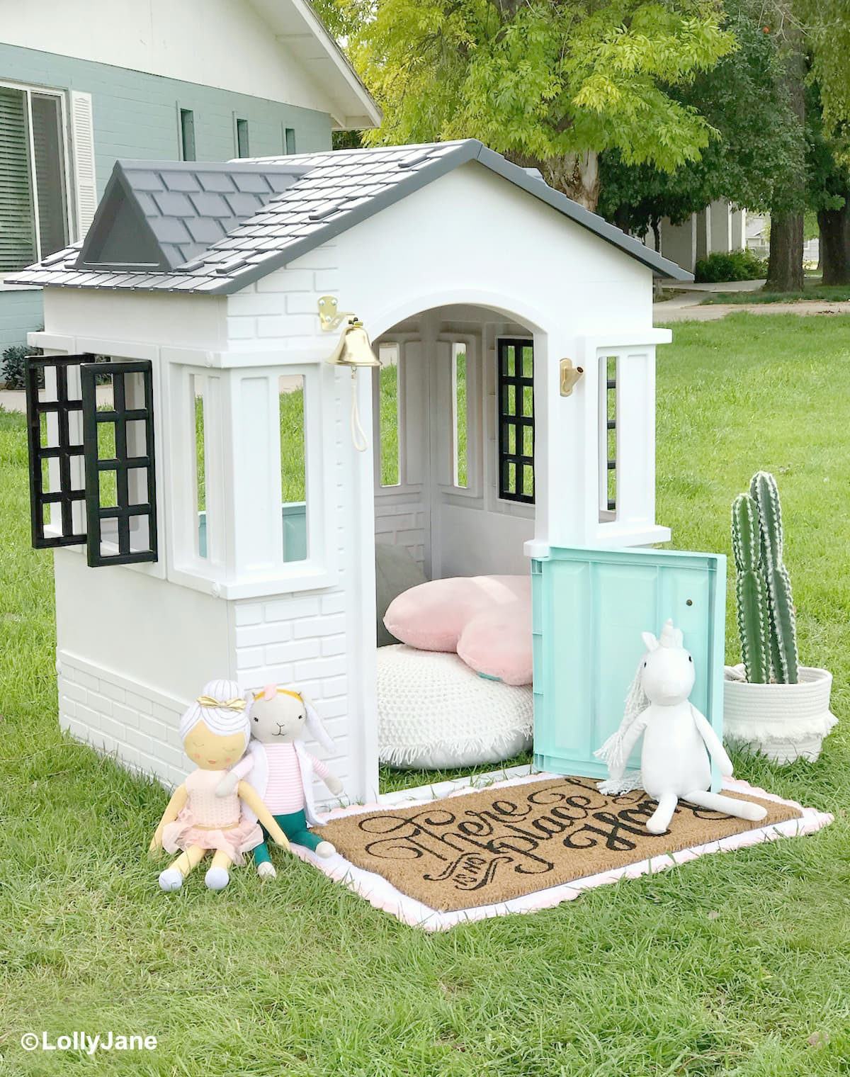 How To Paint a Plastic Playhouse Like a Pro! - Lolly Jane