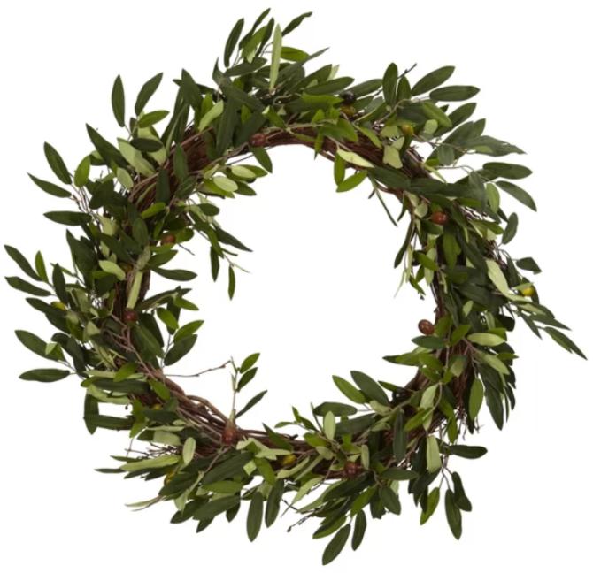 Love this olive branch wreath, so pretty! The perfect farmhouse wreath decor idea! #wreath #farmhouse #farmhousewreath #olivebranch #olivebranchwreath