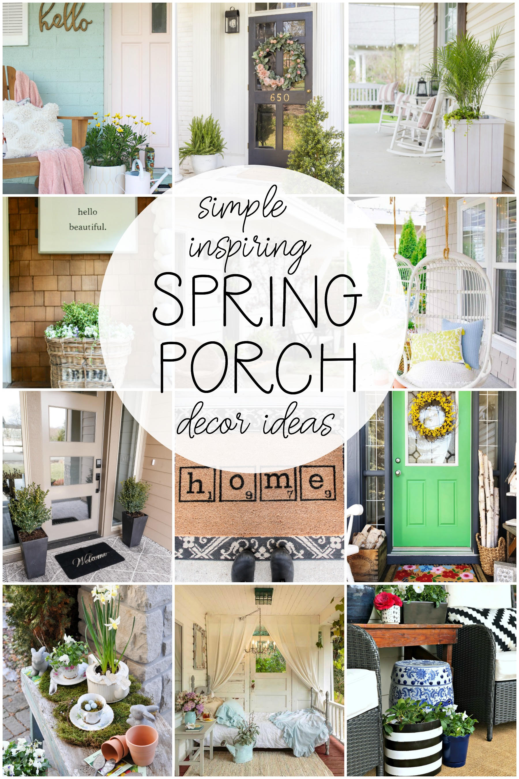 Simply Inspiring Spring Porch Decorating Ideas. Click to see 12 gorgeous ideas! #spring #springporch #porchrefresh #frontporch