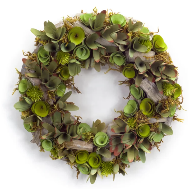 Have you ever seen a succulent wood wreath? So pretty! The perfect farmhouse wreath! #succulent #wreath #farmhousewreath #succulentwood #woodwreath