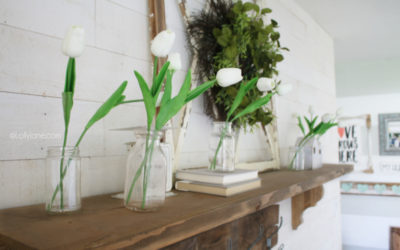 Decorating With Tulips | Spring Mantel Decor