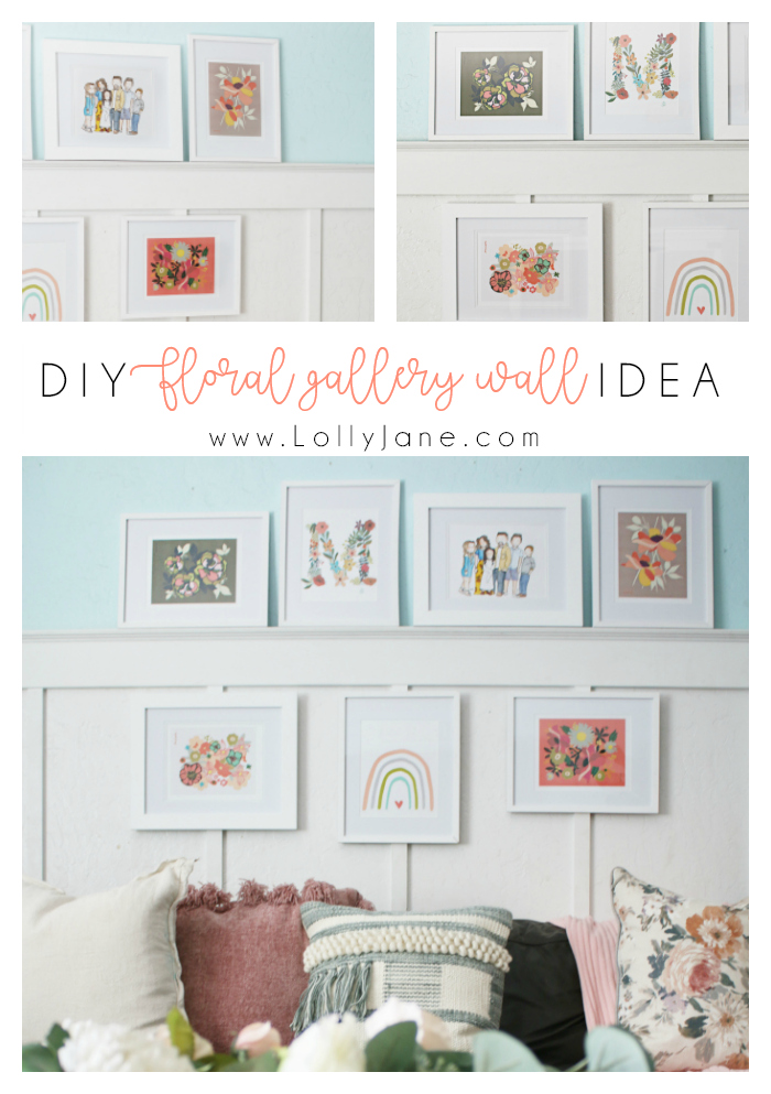 Love this easy DIY floral gallery wall with print at home pictures and prints, so easy. Love this colorful home decor! #gallerywall #homedecor #diy #familyroom #walldecorations