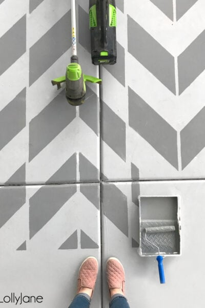 DIY Stenciled Concrete Porch. So easy to do! #diy #stencil