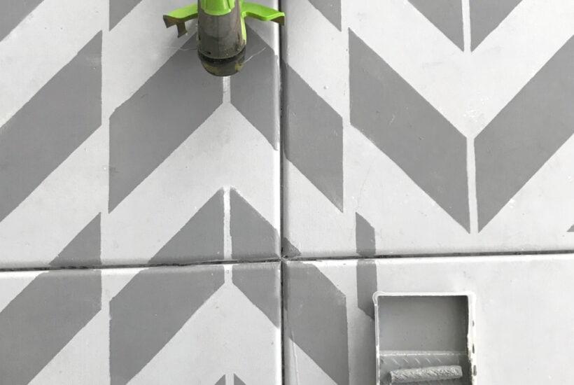 DIY Stenciled Concrete Porch. So easy to do! #diy #stencil