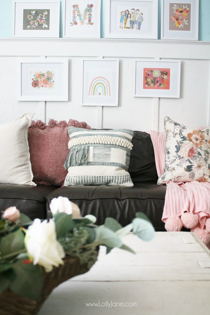 Ever wondered what goes into setting up gallery wall art? Learn how to create a gallery wall with affordable frames and print at home floral art. You don't have to spend a lot of money to bring your own style and personality into your space. #gallerywalldecor #gallerywallart #floralgallerywall #floralwallart #floraldecor #bohodecor