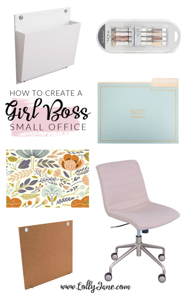 How to create a girl boss small office. Love this fun bright and airy small office with its retro removable wallpaper and white modern office accessories. #homeofficemakeover #girlboss #smalloffice #officedecorations