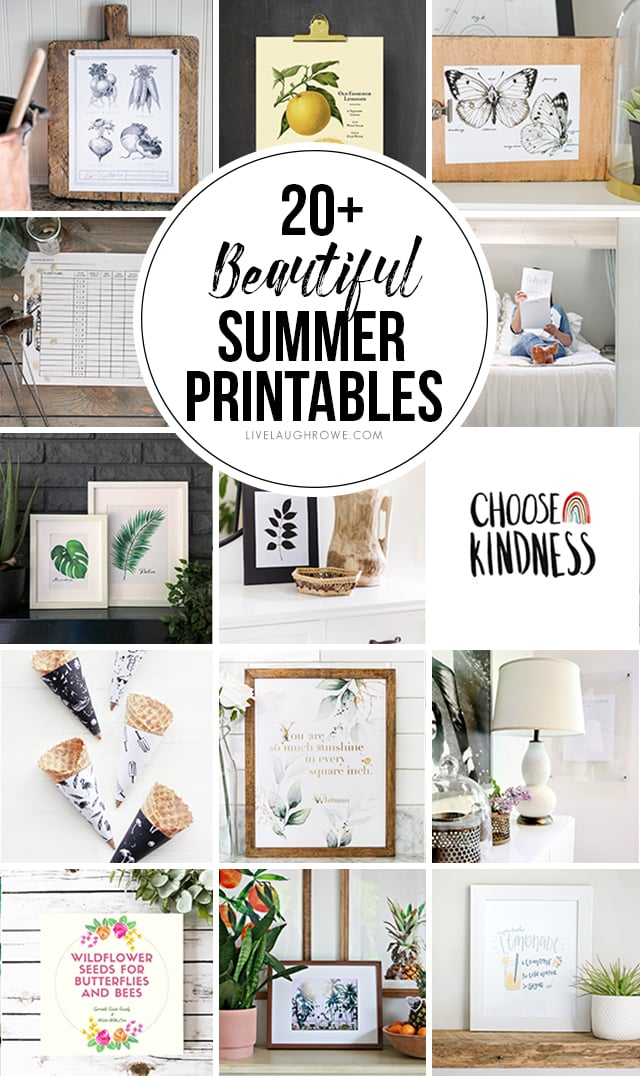 Over 20+ Beautiful Summer Printables -- and they're all FREE! Looking to decorate your house on a budget? Grab these free printables for your home. #homedecor #freeprintable #digitaldecor #freeprint