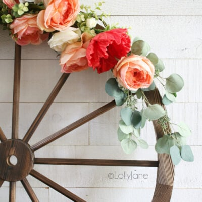 Easy to Make Floral Summer Wagon Wheel Wreath